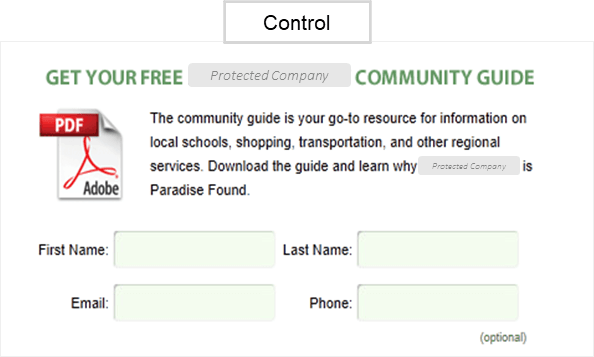 Creative Sample #1: Control web form from marketing experiment