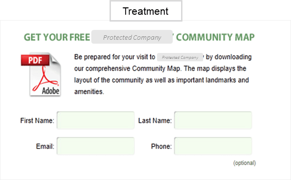 Creative Sample #2: Treatment of web form from marketing experiment