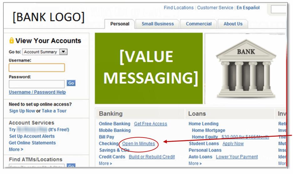 Creative Sample #1: Anonymized bank homepage