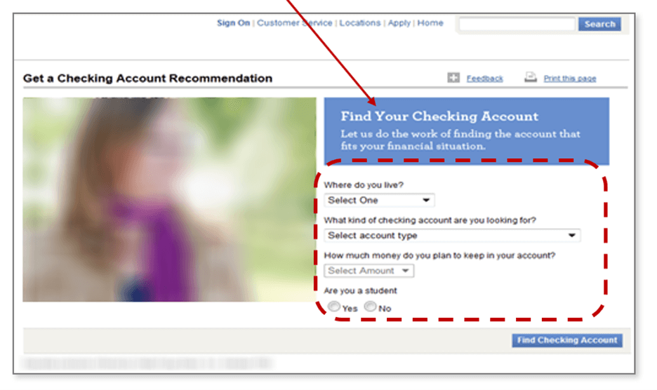 Creative Sample #2: Original checking account landing page — account recommendation selector tool