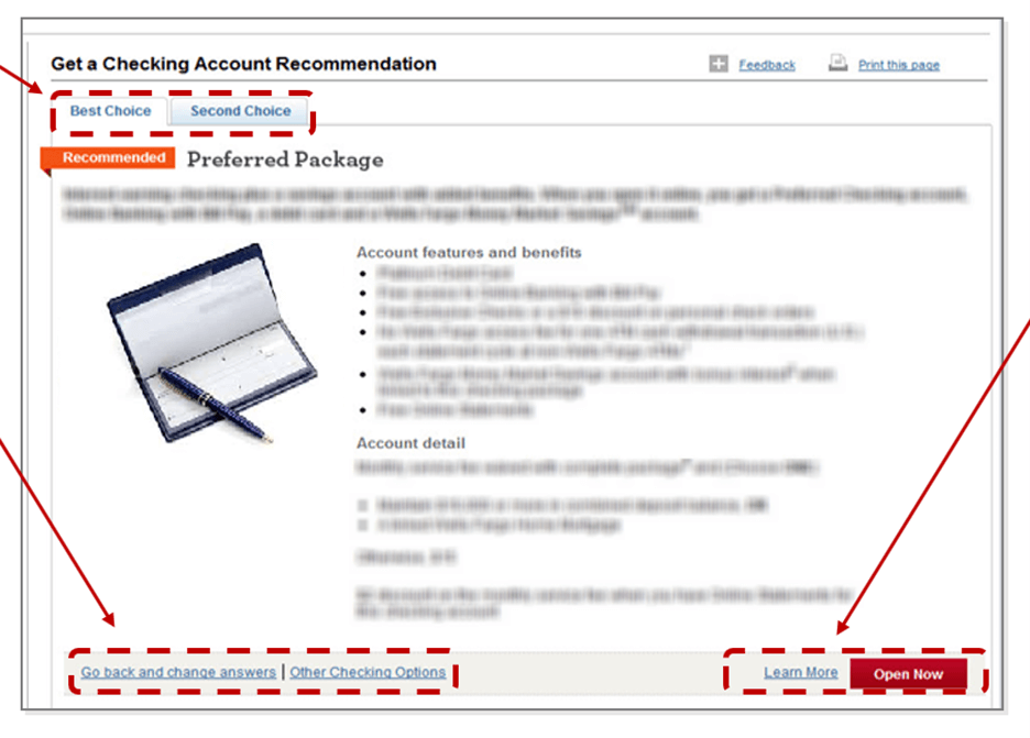 Creative Sample #3: Original checking account landing page — account recommendation selector tool results page