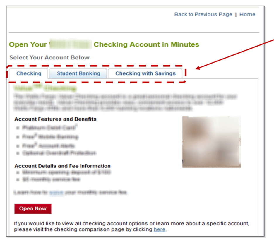 Creative Sample #4: Checking account landing page Treatment #1