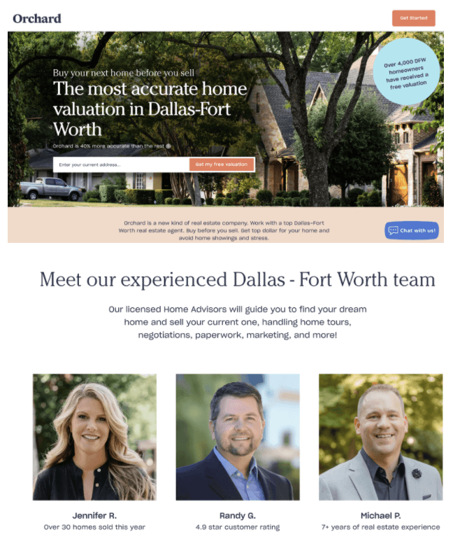 Creative Sample #4: Dallas-Forth Worth landing page, Treatment #1 (with agent module at top)