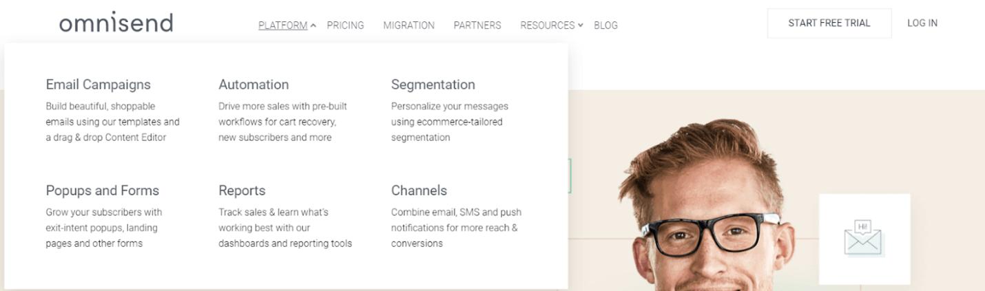 Creative Sample #4: Top menu on SaaS website (before)