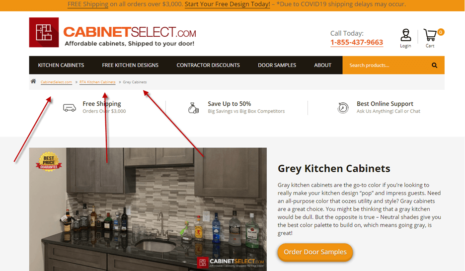 Creative Sample #1: Breadcrumb navigation on landing page for provider of RTA (ready-to-assemble) kitchen cabinets