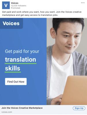 Creative Sample #3: LinkedIn ad for job search website