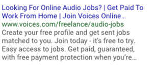Creative Sample #5: Google ad for job search website