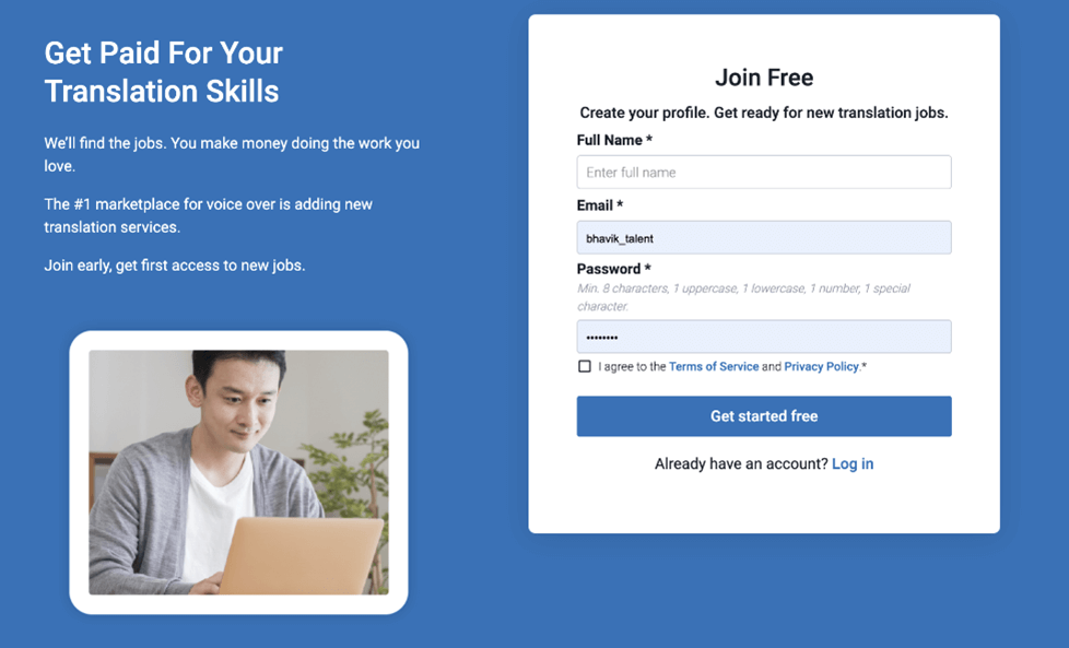 Creative Sample #6: Landing page for job search website