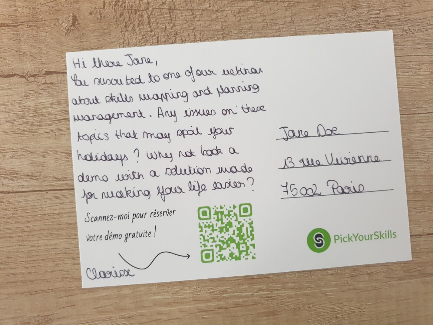 Creative Sample #2: Handwritten note on postcard to cold leads from resource management software company
