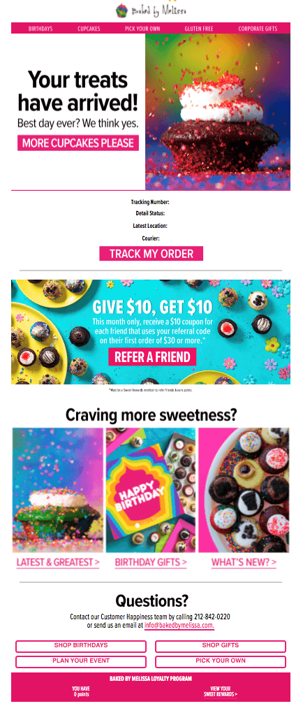Creative Sample #1: Received delivery email