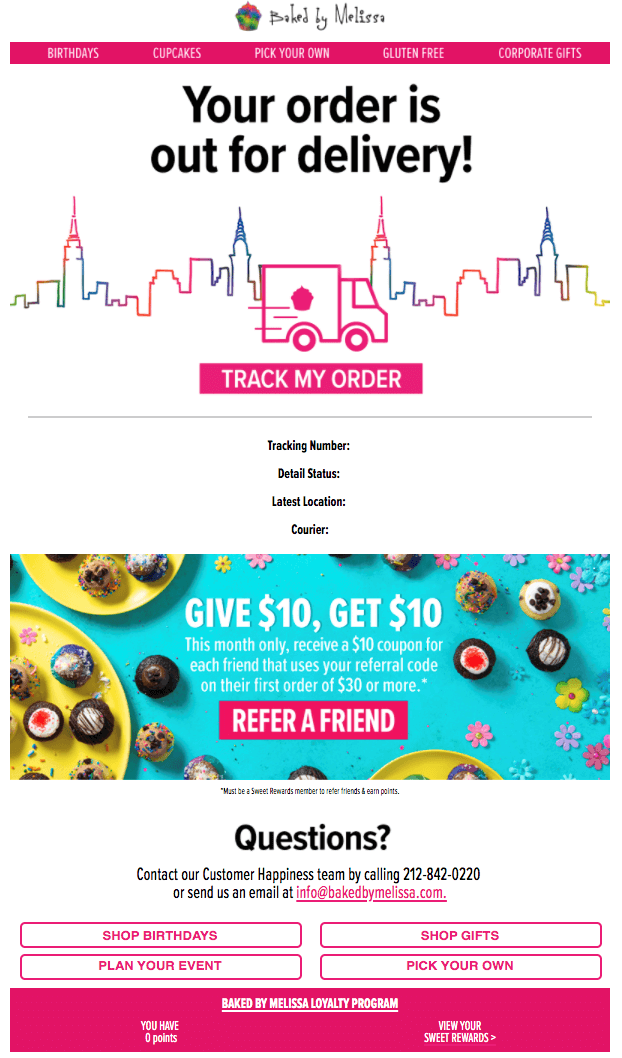 Creative Sample #3: Order out for delivery email