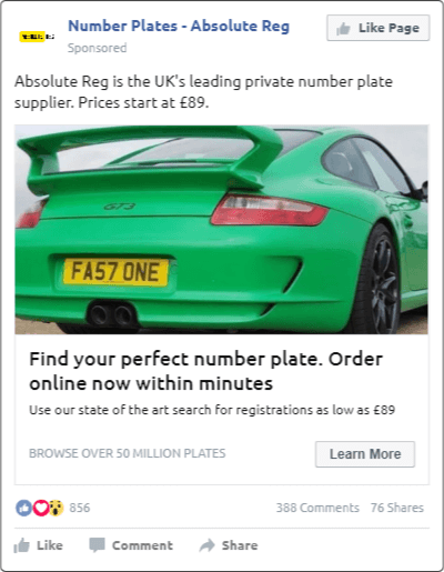 Creative Sample #2: Photo ad on Facebook