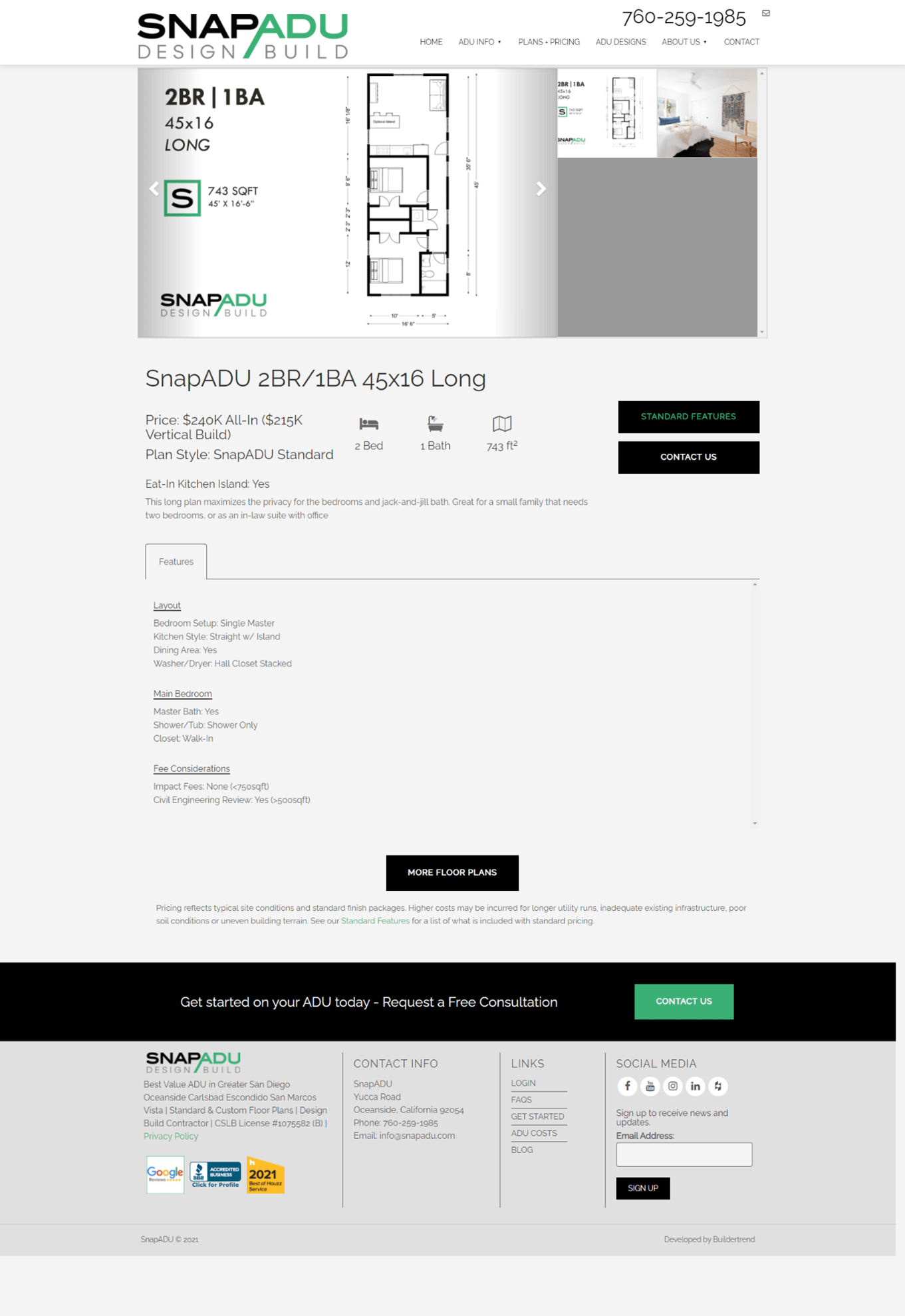 Creative Sample #1: ADU plan with transparent pricing on general contractor's website