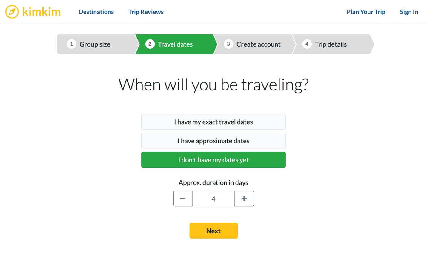 Creative Sample #5: Trip duration select