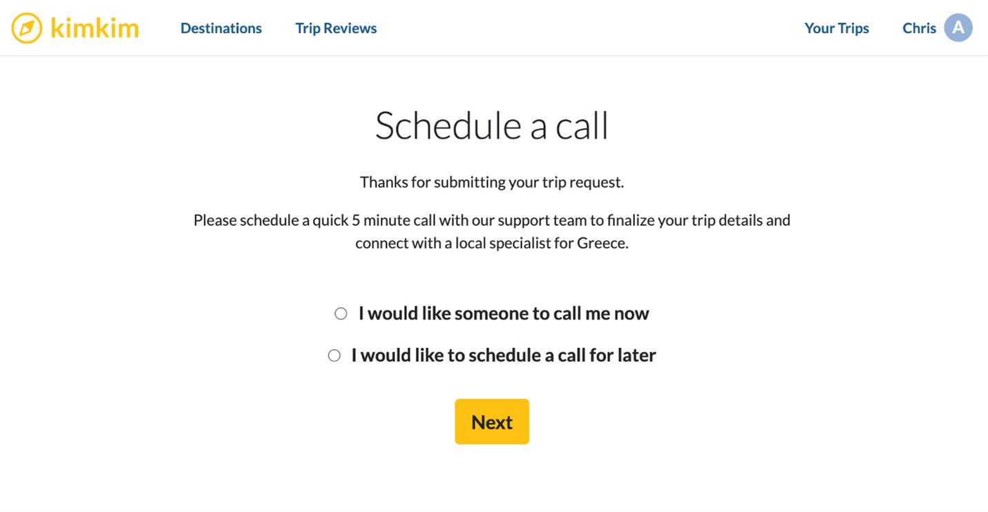 Creative Sample #9: Schedule call