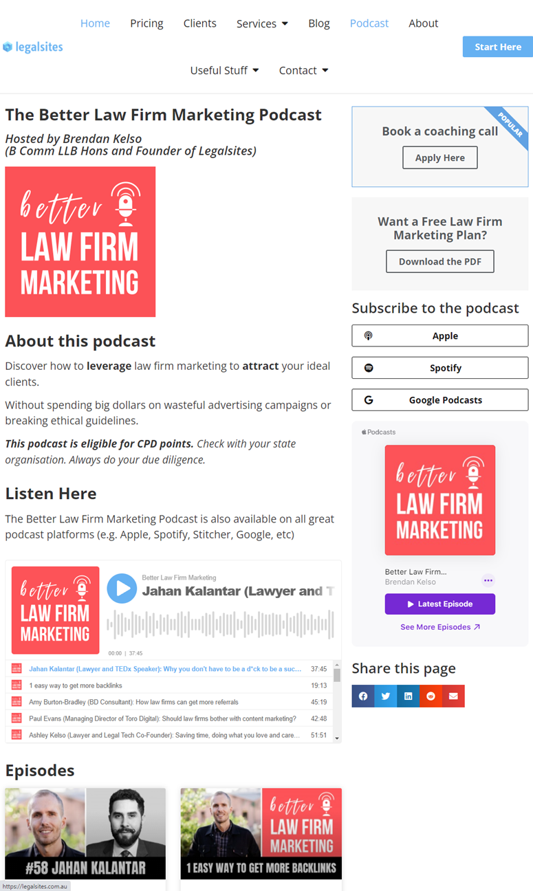 Creative Sample #2: Webpage for Australian law firm marketing agency's podcast